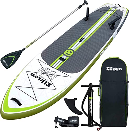 Elkton Outdoors Grebe 12 Foot Fishing Inflatable Paddle Board Stand Up SUP Package