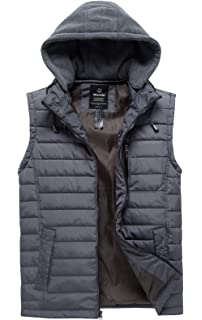4da51fd8e5e Wantdo Men s Puffer Vest Quilted Warm Sleeveless Winter Jacket with  Removable Hood