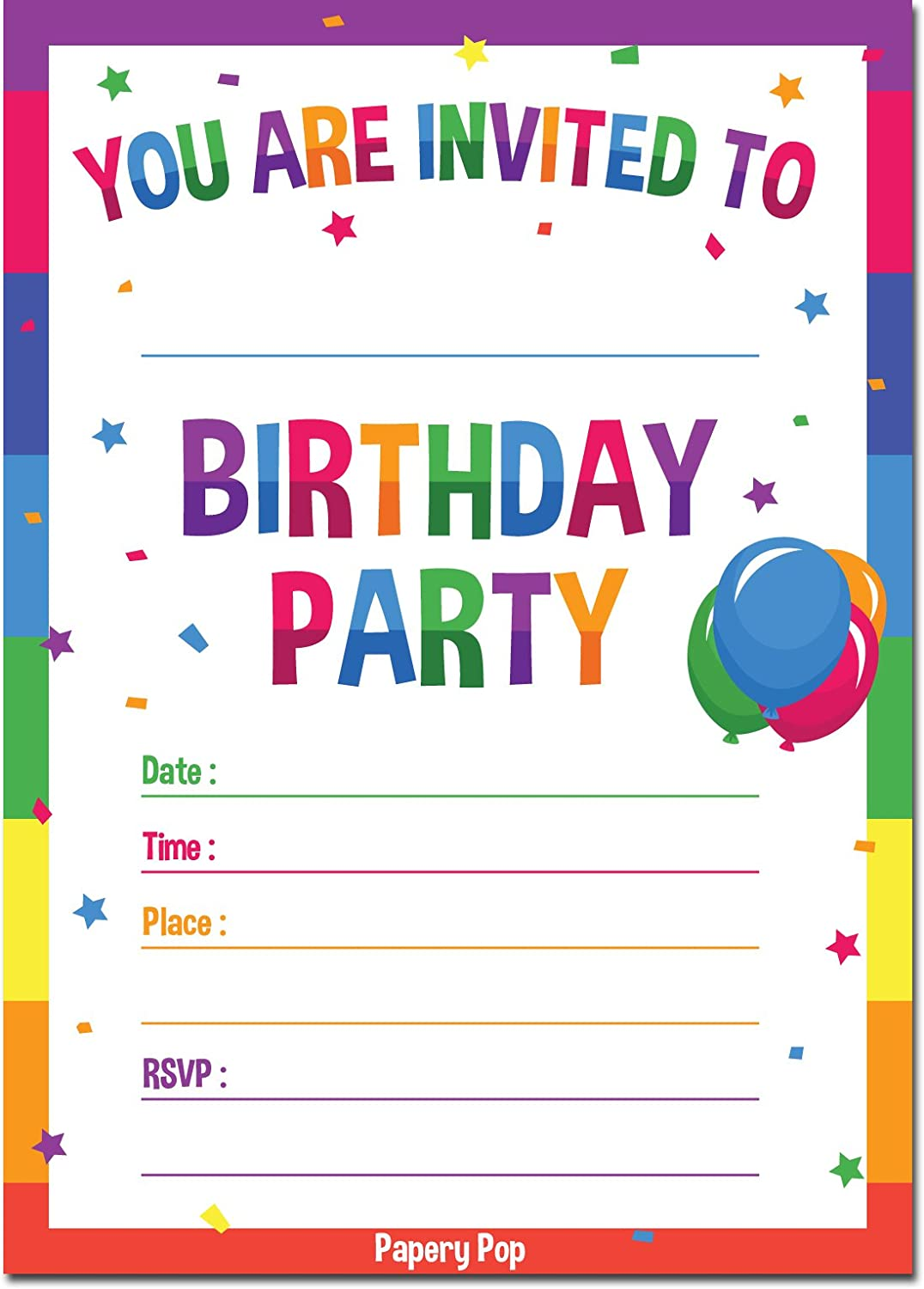 Birthday Invitations With Envelopes 15 Pack Kids Birthday Party Invitations For Boys Or Girls Rainbow