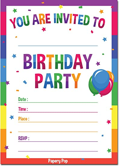 30 Birthday Invitations With Envelopes 30 Pack Kids Birthday Party Invitations For Boys Or Girls Rainbow