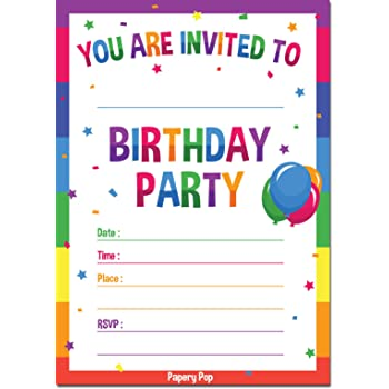 amazon com 24 bounce house fill in kids birthday party invitations