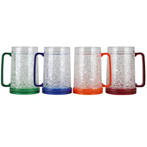 Lily's Home Double Wall Gel-Filled Acrylic Freezer Stein Mugs, Great as Old Fashion Drinking Glasses at BBQs and Parties, Clear with Assorted Color Accents (16 oz. Each, Set of 4)