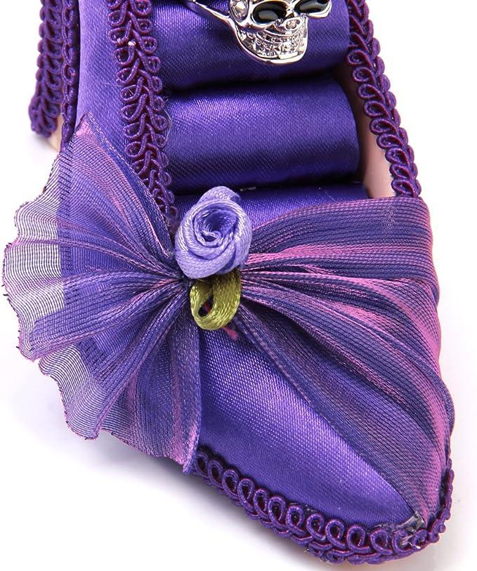 Présentoir de Bijoux 8 Anneaux Bagues Forme Chaussure de Haut Talon Violet