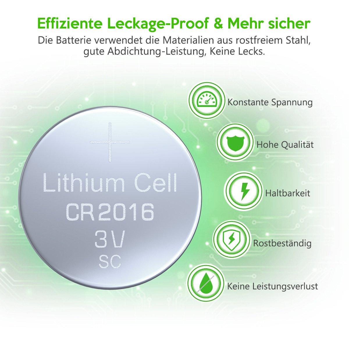 EBL 20 Stück CR2016 Lithium Knopfzelle 3V 2016 DL2016 ECR2016 Knopfbatterie