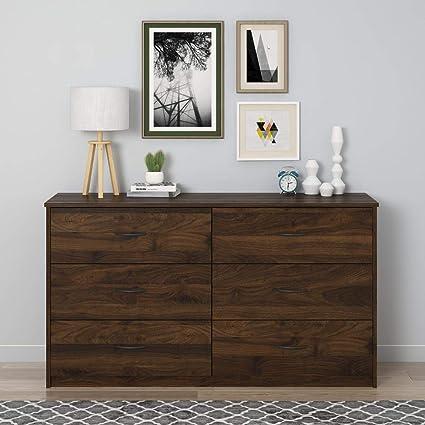 Mainstays Classic 4 Drawer Dresser Sturdy Construction Columbia Walnut Finish