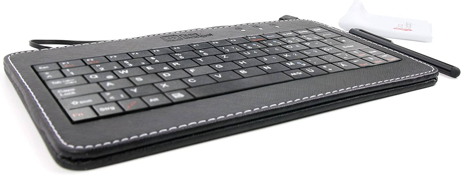 Wiko Tommy Black PU Leather Micro USB 7 QWERTZ German Keyboard for The Wiko Lenny 3 Wiko S-Kool by DURAGADGET