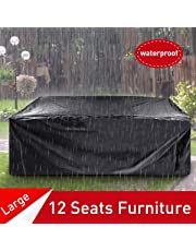 ESSORT Patio Cover, Outdoor Furniture Lounge Porch Sofa Protector Waterproof DustProof Protective Loveseat Covers Black