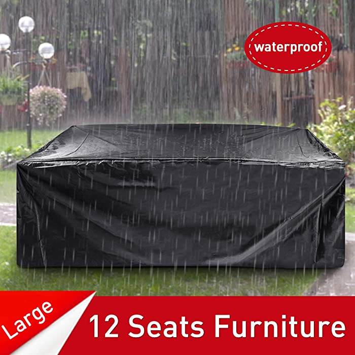 "ESSORT Patio Cover, Large Outdoor Sectional Furniture Set Cover, Table Chair Sofa Covers, Waterproof Dust Proof Anti UV/Wind, Protective Cover for Garden Loveseat 124""x63""x29"" (210D)"