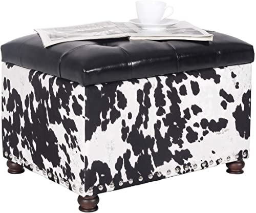 Homebeez Tufted Storage Ottoman Footstool Velvet Footrest