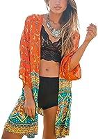 Hibluco Women's Sheer Floral Print Kimono Cardigan Long Tops Loose Cover UPS
