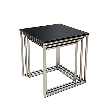 Beistelltisch Design design beistelltisch 3er set fusion matt schwarz edelstahl gebürstet