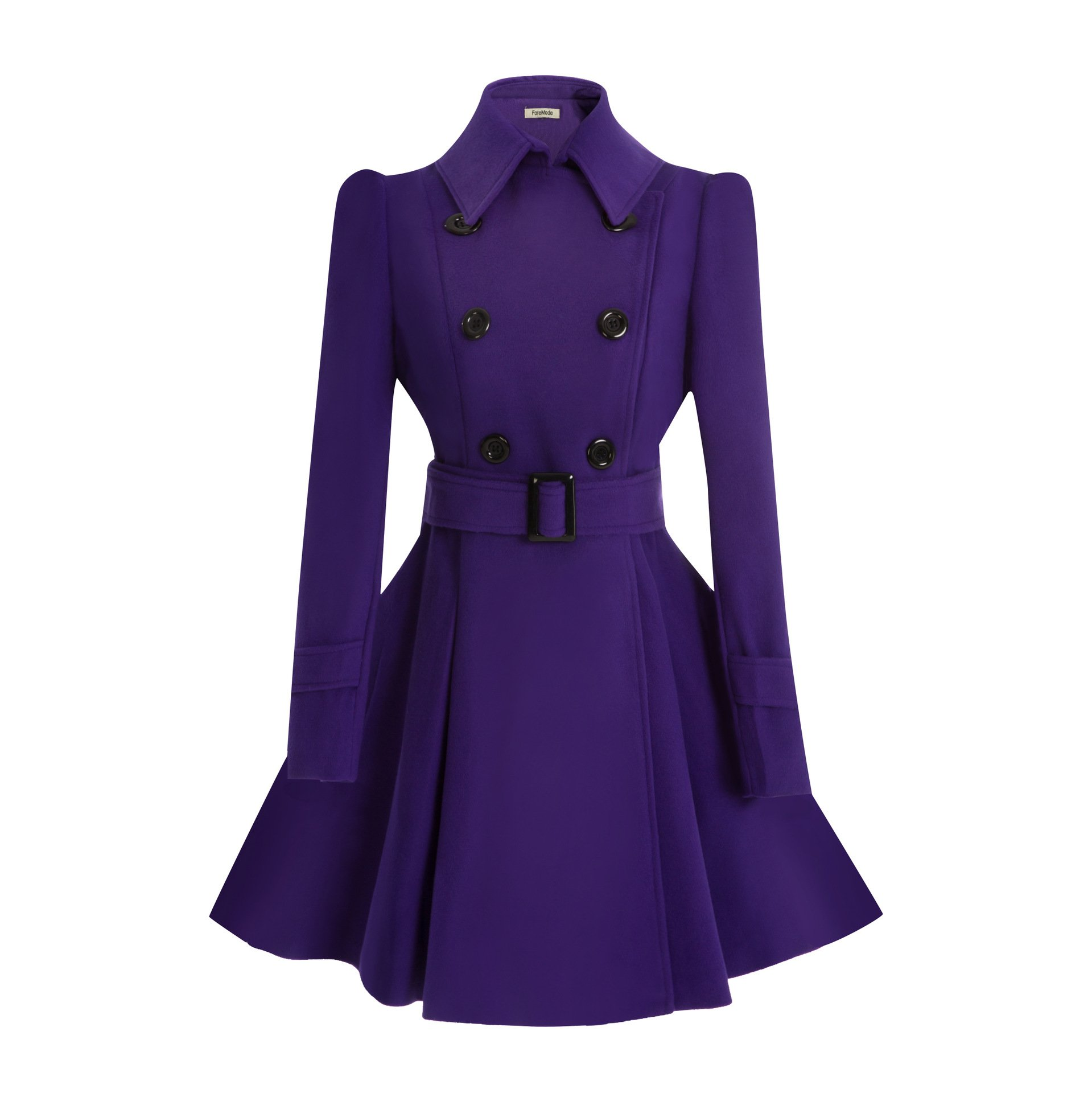 ForeMode Women Swing Double Breasted Wool Coat with Belt Buckle Spring Mid-Long Long Sleeve Lapel Dresses Outwear(Purple M)