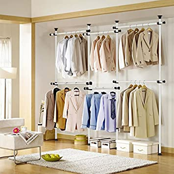 Asunflower Adjustable Clothes Rack Protable 4 Tier Closet Organizer Steel  Pipe Garment Rack Hanger Heavy