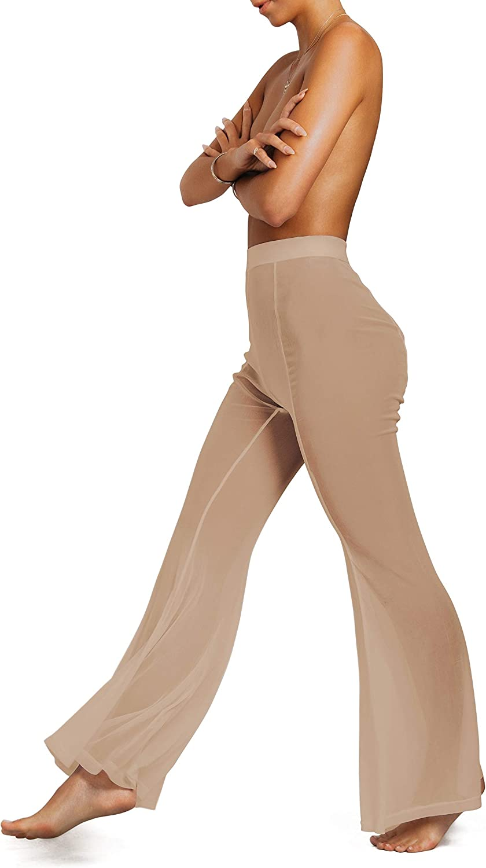 Sofsy Mesh Swimsuit Cover Up Pants For Women Sheer Beach Sexy Swimwear Coverup Pant See Through Swim Bikini Bathing Suit At Amazon Women S Clothing Store