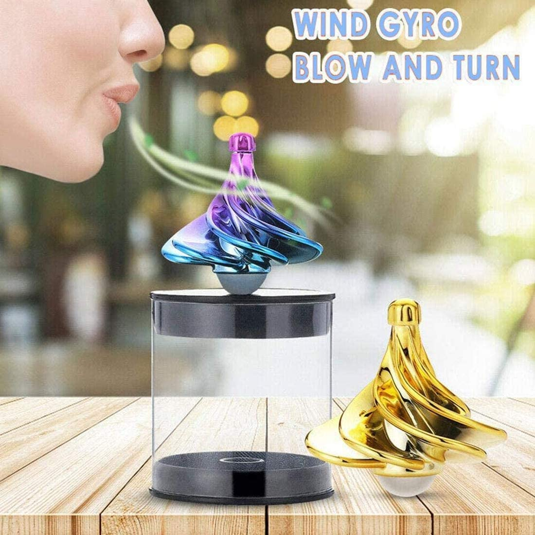 Golden Wind Gyro Desktop Gyro Gift for Christmas Wind Blow Turn Gyro Desktop Decompression Toys Stress Relief Toy Airflow Spinning Gyro Spinning Top