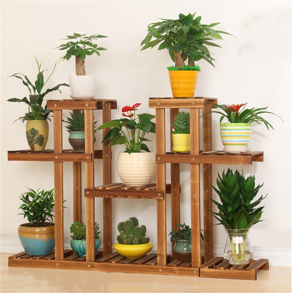 Cornice floreale   Stand per piante all'aperto   Vasi per fiori in legno di pino anticorrosivo Rack   4 piani di atterraggio a più livelli Scaffali per simmetria Portafiori per fiori Espositore per fi