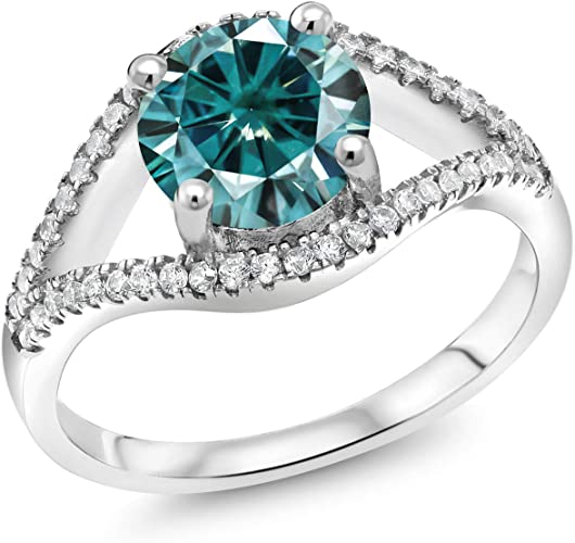 2.5 CT Brilliant Moissanite 5 Stone Wedding  Engagement Ring 925 Sterling Silver