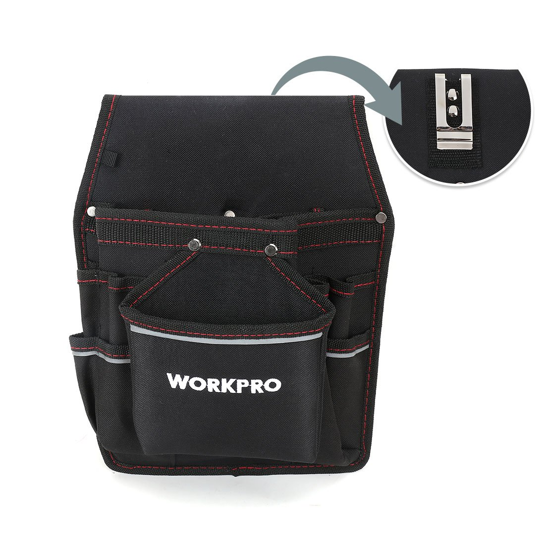 WORKPRO Maintenance Tool Pouch Electrician's Belt Tool Holder with Multiple Pockets, Organizer for Tools, Flashlight, Keys