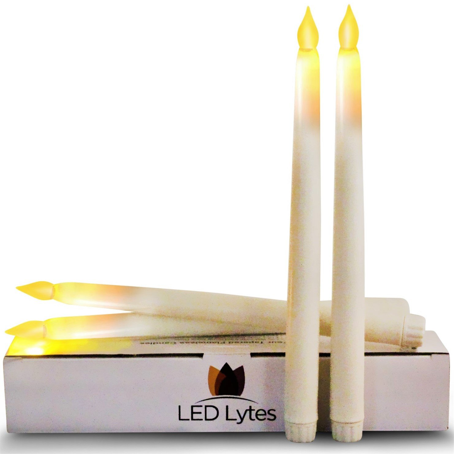 Tapered Timer Candlesticks Flameless Candles - Set of 4 Battery Operated Flameless LED Candles, Ivory Wax and Amber Yellow Flame, 11'' Tall and 3/4 Base by LED Lytes