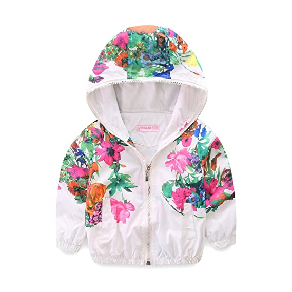 c16600071134 Mud Kingdom Little Girls Jackets Floral with Hood Thin  Amazon.ca ...