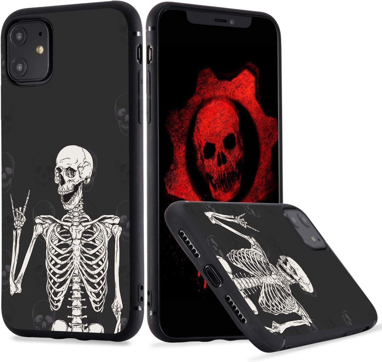 LuGeKe Skeleton Phone Case for iPhoneXs max, Smile Skull Patterned Boys Design Case Cover,SofrTPU Anti-Stratch Bumper Protective Cool Boys Phonecase(Gothic Skeleton)