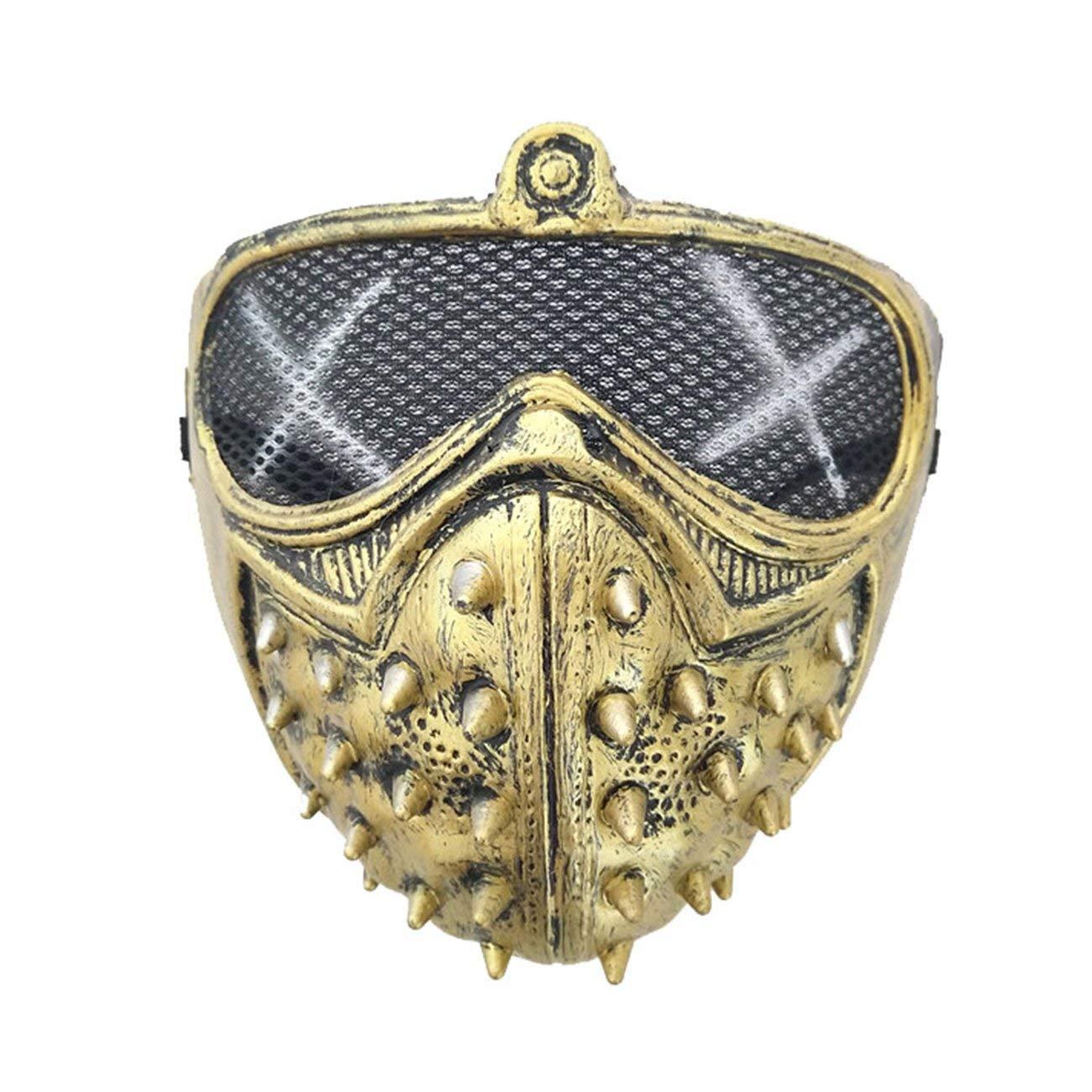 Fannty M/étal clout/é Steampunk en cuir masque Biker Hommes demi visage masque Airsoft Vent Cool Punk Rivets Noir mascarade masque en cuir