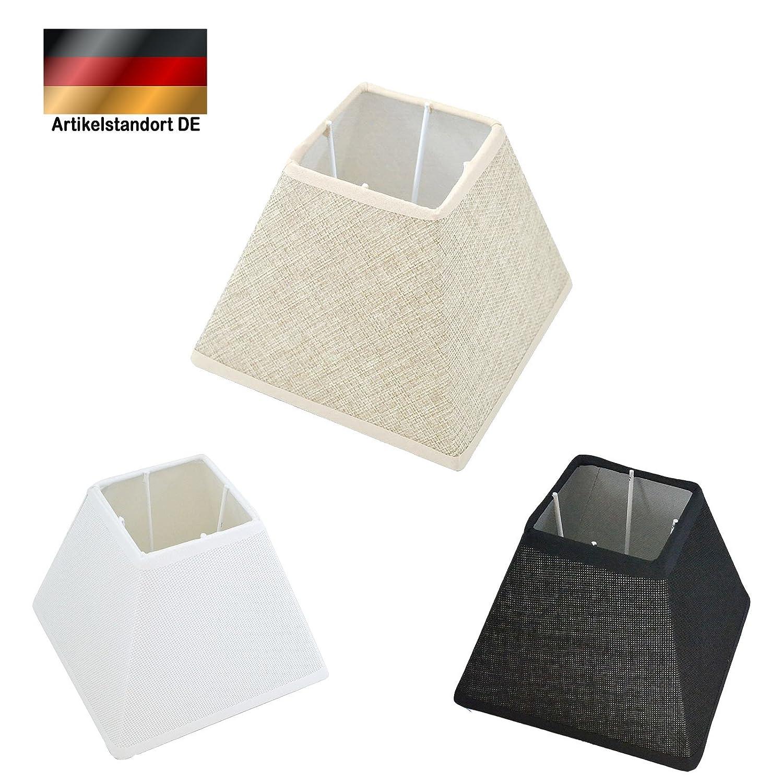 Abat-Jour Lin Oblique carré Tissu Textile Lin Shabby Chick carré Abat-Jour E27, Noir, 6' (15,24 cm) 6 (15 LinQ®