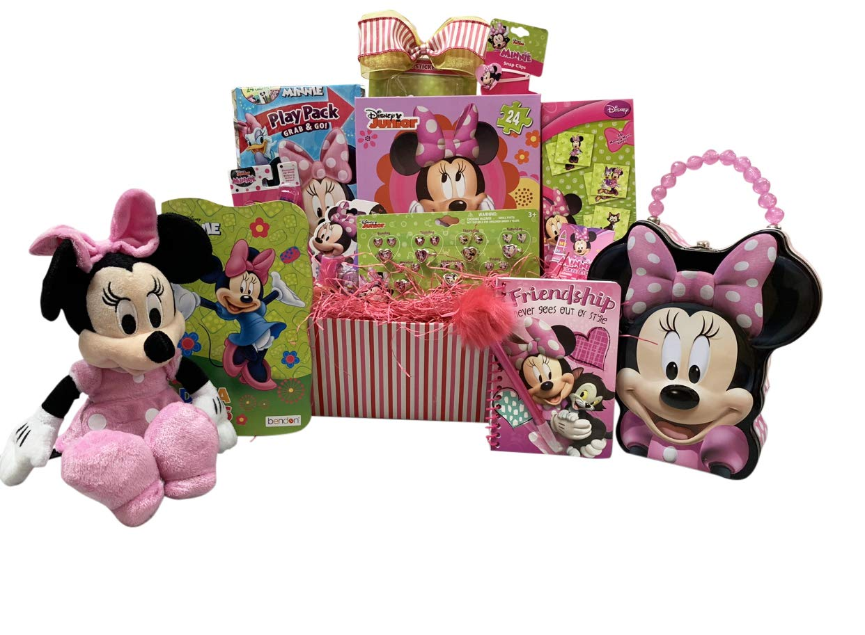 Gift Basket For Kids Minnie Mouse Themed 10 items in 1 Get Well, Birthday Basket with Novelties, Jewelry, Watch, Hair Accessories, Fun & Games