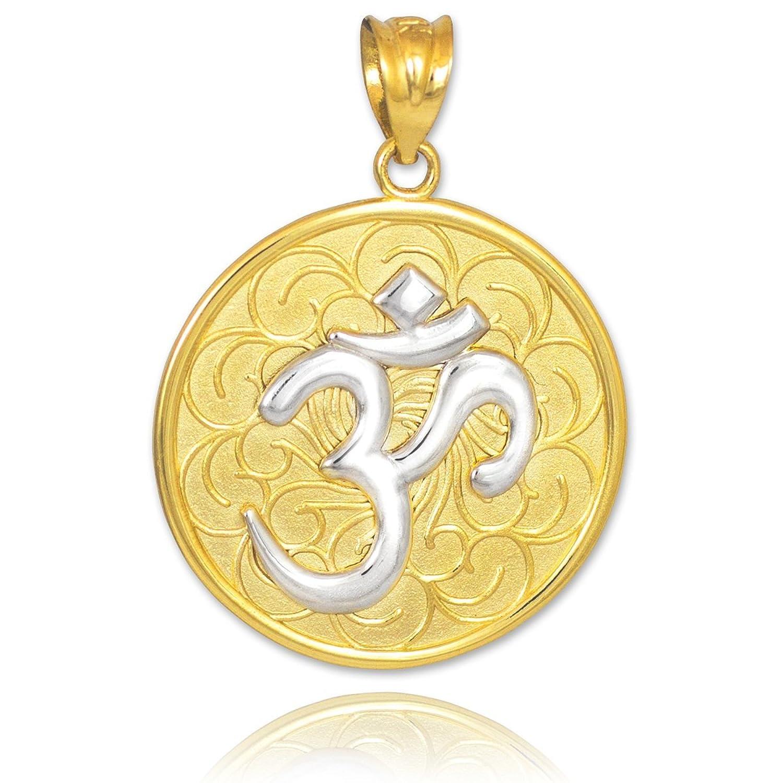 10k Two Tone Gold Om (Aum) Medallion Pendant