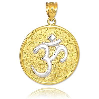 Amazon 10k two tone gold om aum medallion pendant men s 10k two tone gold om aum medallion pendant aloadofball Gallery