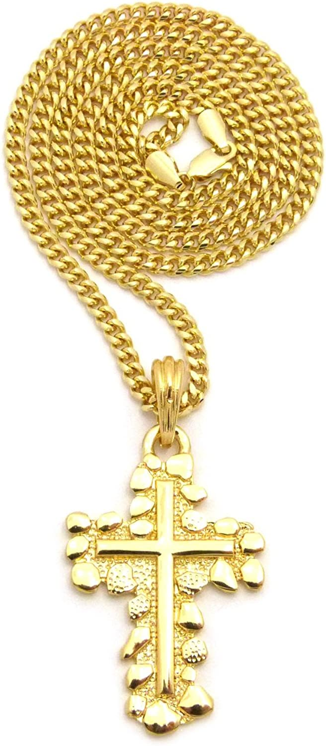 XSP536G NEW CROSS PENDANT /& 24 BOX//ROPE//CUBAN CHAIN HIP HOP NECKLACE