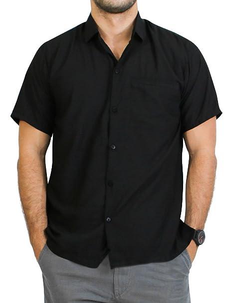 *La Leela* Rayón Suelta Aloha Hawaiano Botón de Manga Corta Camisa de los Hombres Abajo Hawaiano Negro CSrmuF