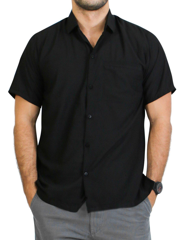 LA LEELA Rayon Vintage Casual Camp Party Shirt Black 86 XL   Chest 48'' - 52''