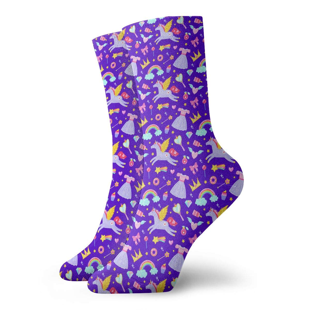 Unisex Cute Unicorn On The Purple Background Athletic Quarter Ankle Print Breathable Hiking Running Socks