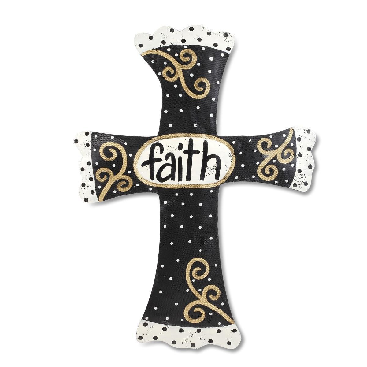 Black//Gold 2020150064 DEMDACO Silvestri Faith Cross Door Hanger