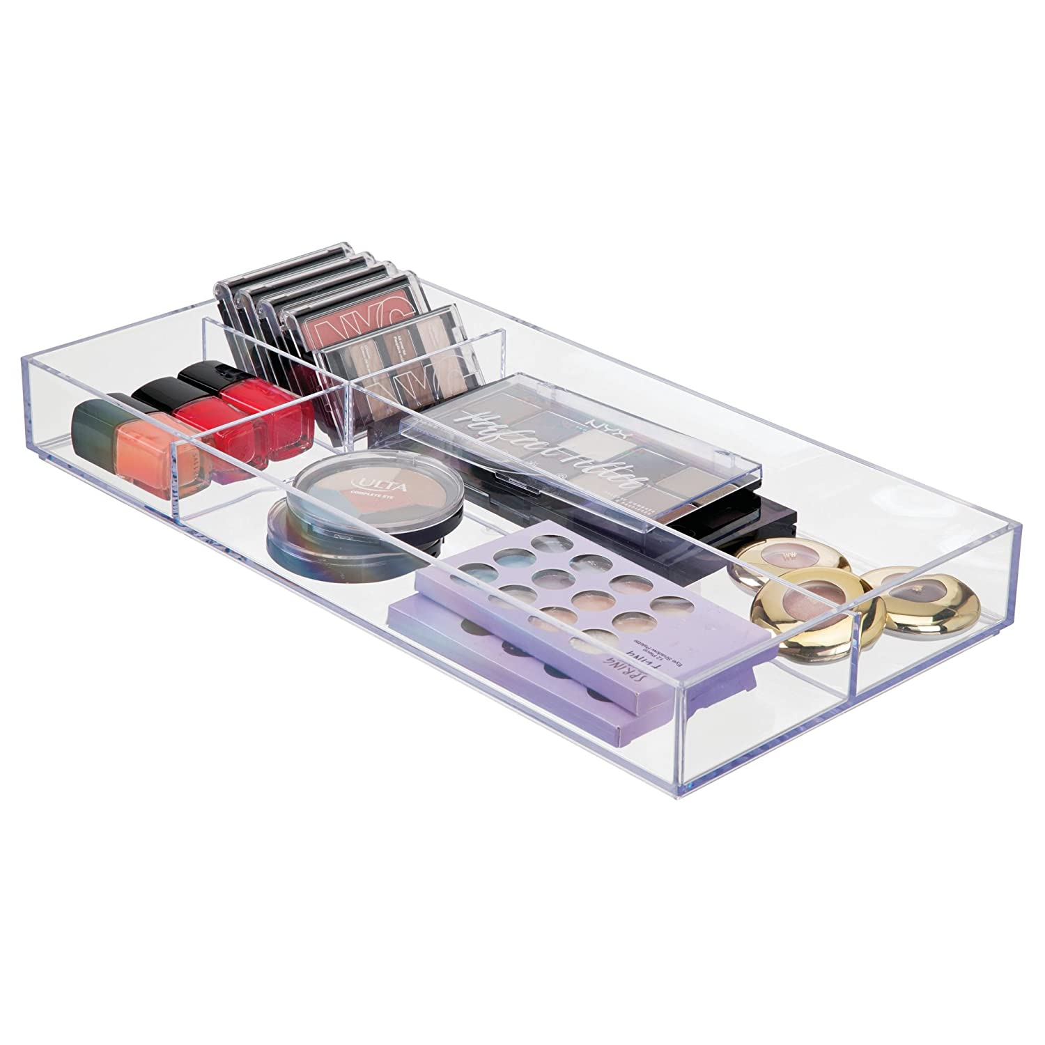 mDesign Cosmetic Drawer Organizer for Makeup Brushes, Eye Shadow, Blush - 20 x 40.5 x 5 cm, Clear MetroDecor 0124MDC