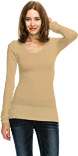 product image for Womens Basic Bamboo Cotton Seamless Scoop Neck Long Sleeve Stretch Sweater Top