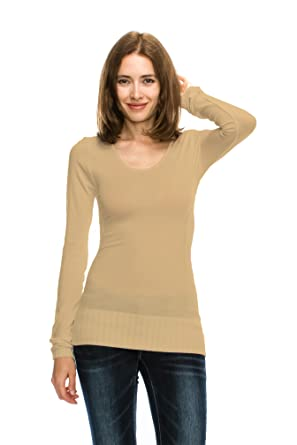 97d515d24d3b75 Womens Basic Bamboo Cotton Seamless Scoop Neck Long Sleeve Stretch Sweater  Top at Amazon Women s Clothing store