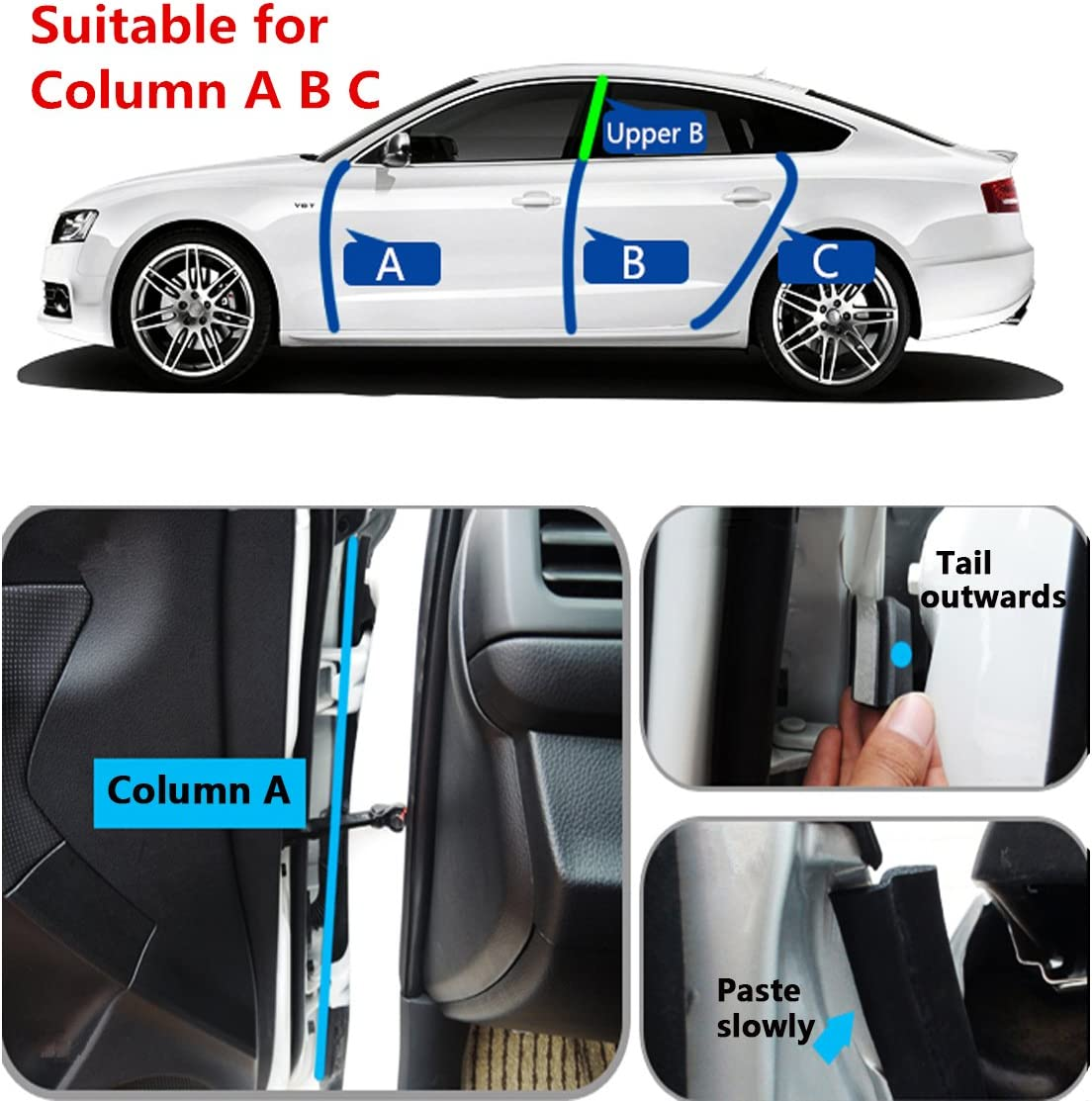 4M Car Door Rubber Seal Z Shape Trim Seal Door Edge Guards Weatherstrip Hollow for Car Truck Motor Protector MATCC 13Ft