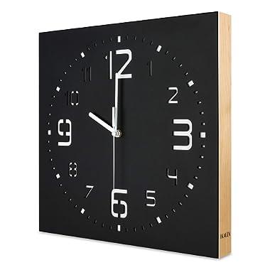 KAUZA Matt Black Handcrafted Wooden Analog Wall Clock - 3D Laser Cutout Numerals Modern Design - Silent Non Ticking Quartz Movement