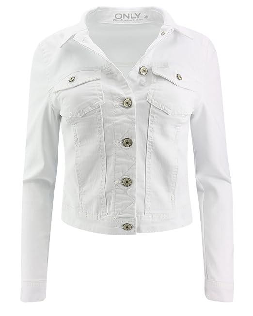 ONLY - Blouson - Veste en jean - Femme - blanc - 40  Amazon.fr  Vêtements  et accessoires 7fdfe8c2bc7a