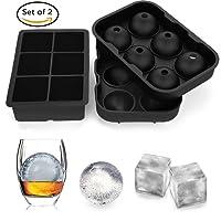 Silikon XXL-Eiswürfelformen,YECHILE 5 cm Würfel Eiswürfel & Eiskugeln mit 4,5 cm Durchmesser aus Silikon,2er Pack ,Schwarz