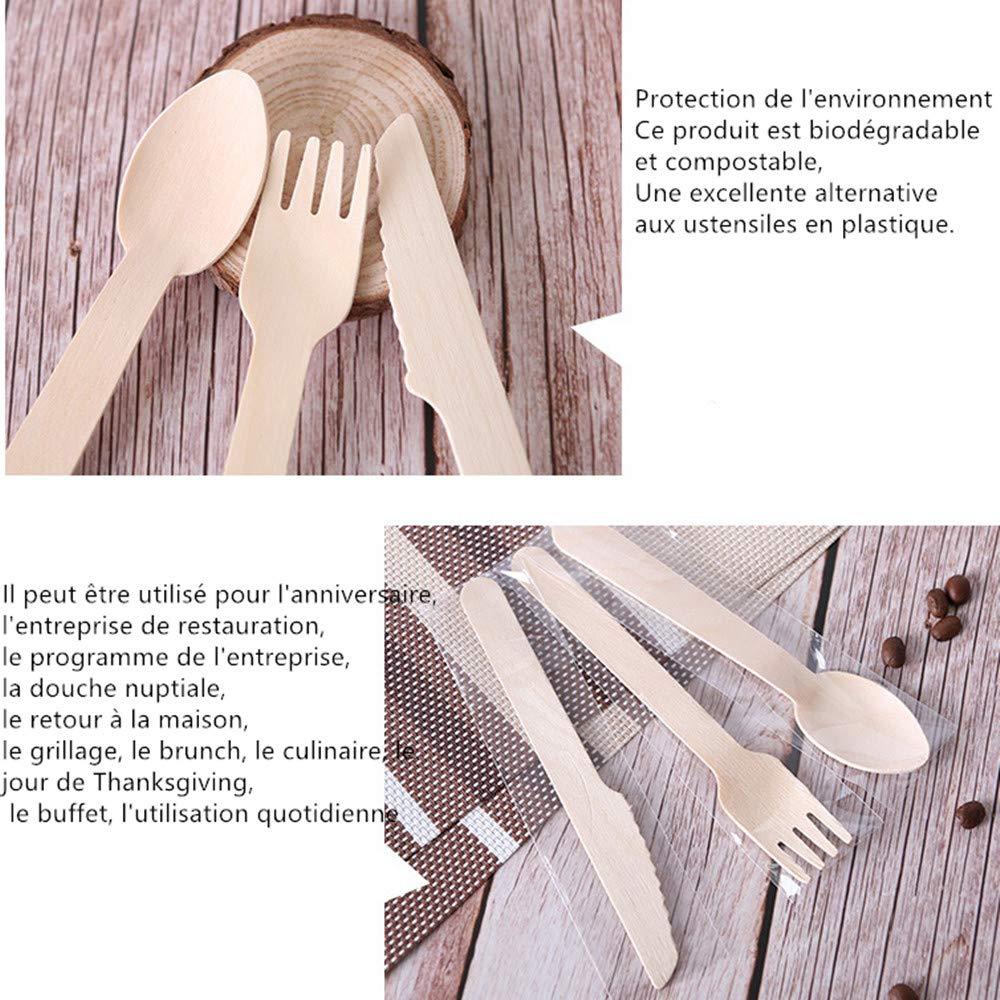 Tukcherry Coutellerie en Bois Jetable, 90 Pcs Ustensiles Biodégradables écologiques pour fête, Anniversaire, Camping, Pique-Nique, Barbecue (30 fourchettes en Bois, 30 Couteaux, 30 Cuillère)