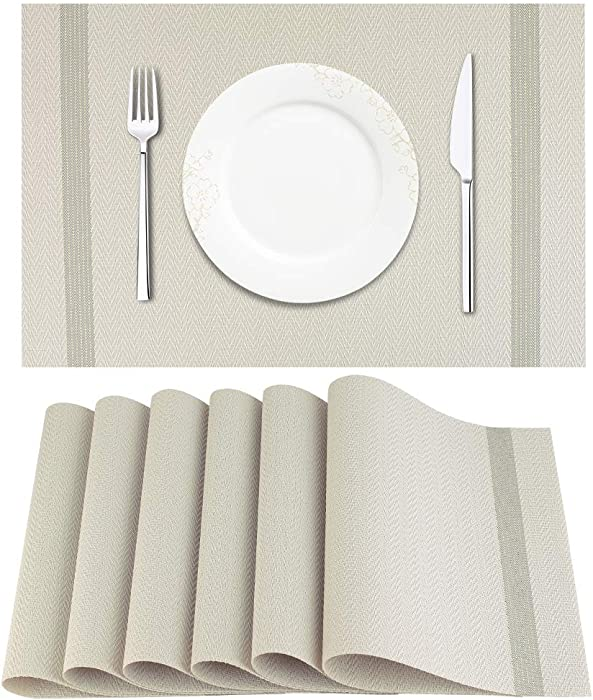 Artand Placemat, Crossweave Woven Vinyl Non-Slip Insulation Placemat Washable Table Mats Set of 6(Light Grey)