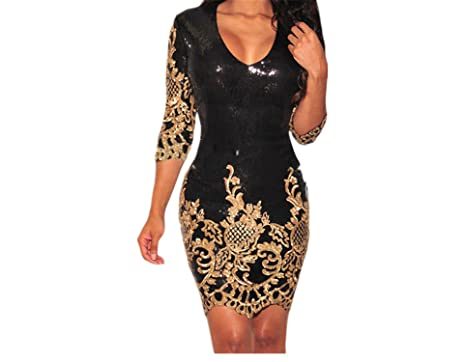 Cheryl Bull Elegant Party Black Gold Silver 3 4 Sleeves Bodycon Dress  Autumns Night Club at Amazon Women s Clothing store  6e336f4522