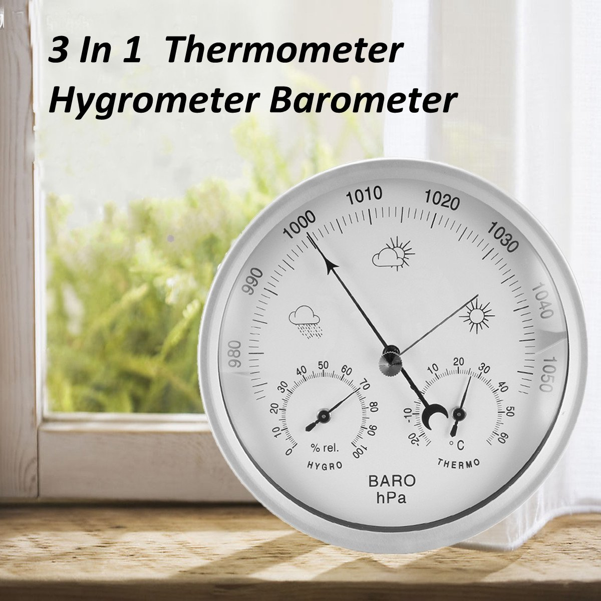 132mm Wall Hanging Portable Temperature Humidity Barometer Weather Meter