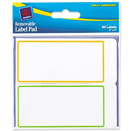 amazon com avery removable label pad 2 x 4 inches assorted