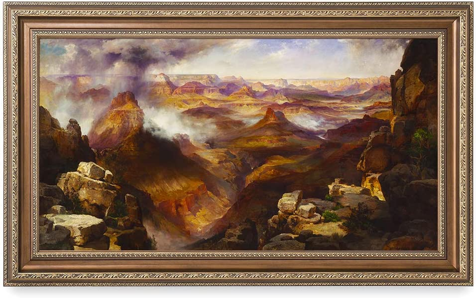 DECORARTS - Grand Canyon of The Colorado River by Thomas Moran, Giclee Print on Canvas. Ready to Hang Framed Wall Art for Home and Office Decor. Total Size w/Frame: 36x22