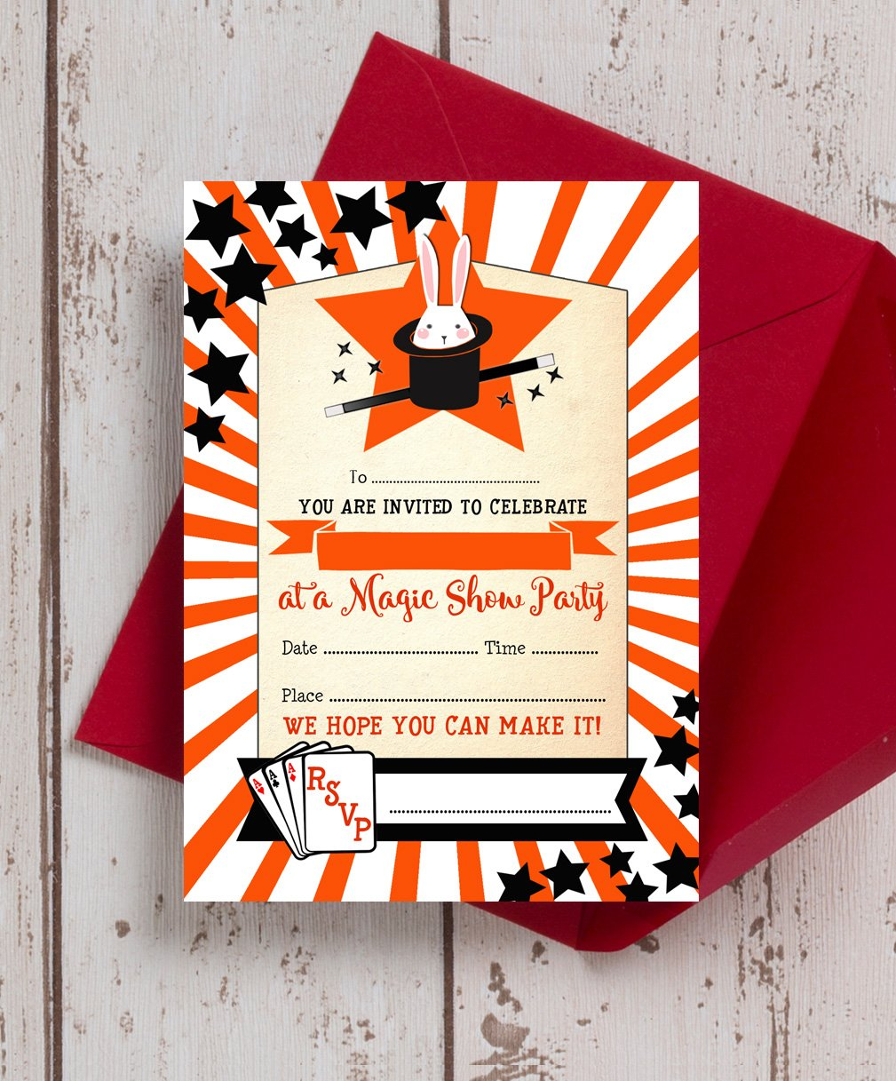 Pack of 10 Magic Show Party Themed Party Invitations: Amazon.co.uk ...