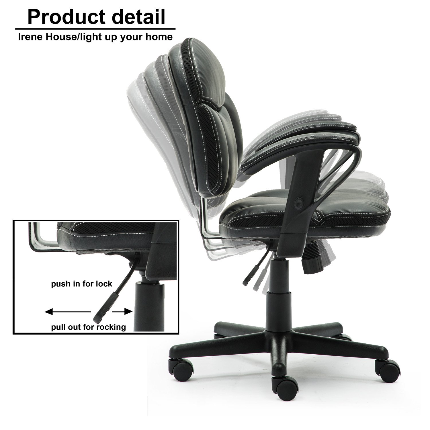 Irene House Comfortable Adult Teen's Swivel Adjustable PU Desk Chair,Ergonomic Mid-Back Student Computer Task Chair,Medium Adult's Home Office Chair(Black) by Irene House (Image #4)